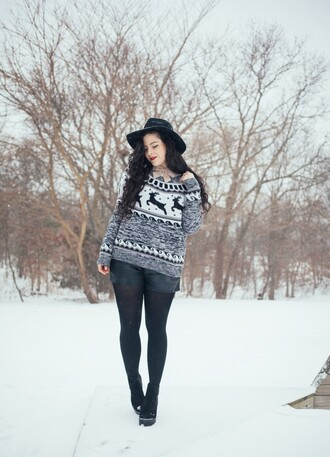noelles favorite things blogger sweater coat shorts hat shoes jewels