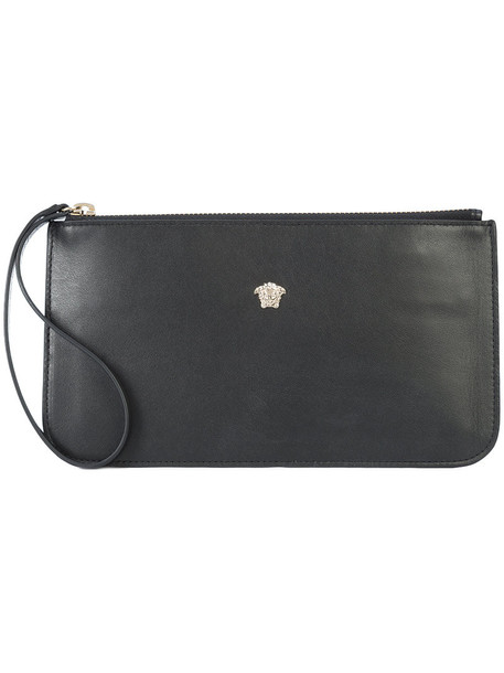 VERSACE women pouch leather black bag