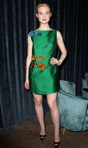 dress,green,green dress,emerald green,elle fanning,sandals,mini dress