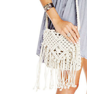 bag boho crochet coachella hippie bag hippie chic boho bag white fringe bag tassel bag bohemian beach bag party bag summer accessories
