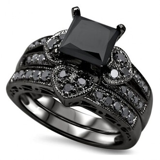 jewels princess cut black diamond ring set 1.57 ct princess cut black cubic zirconia heart shape design engagement ring wedding set black diamond ring set black ring black ring set evolees.com