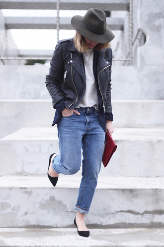 jane's sneak peak blogger jeans hat leather jacket perfecto fedora