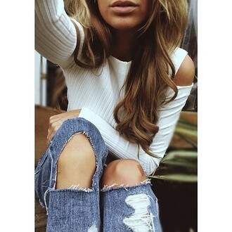 shirt white sweater long sleeves cut-out shoulders