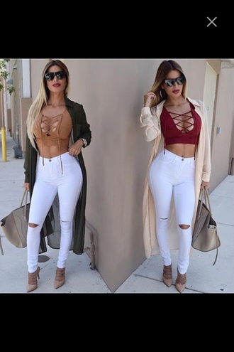 coat shirt brown crop top lace up top crop tops camel pants white pants top ripped jeans jeans bag cardigan heels hazzle nude top white jeans skinny jeans