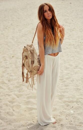 t-shirt beach bag baggy pants pants