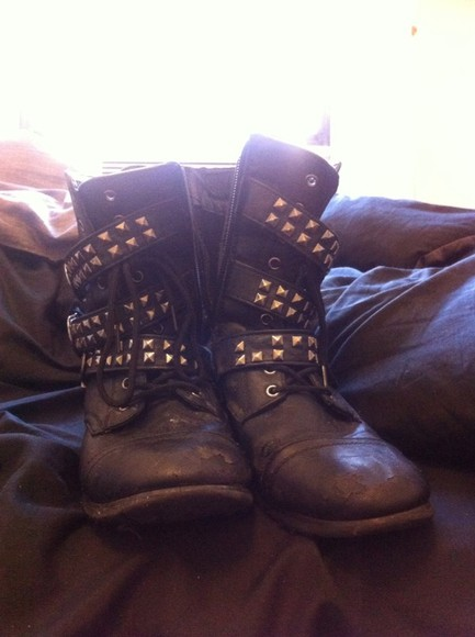 studded shoes black boots studs biker