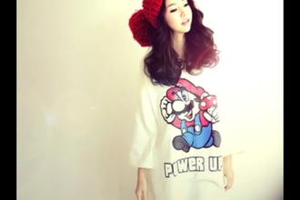 shirt red hat floppy hat mario kawaii korean style korean fashion red hat