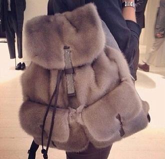 bag fur grey bookbag furry backpack backpack