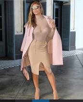 skirt,camel skirt,camel,nude,nude skirt,top,transparent,transparent top,see through,see through top,nude top,Ransparent nude,high neck,high neck top,turtleneck