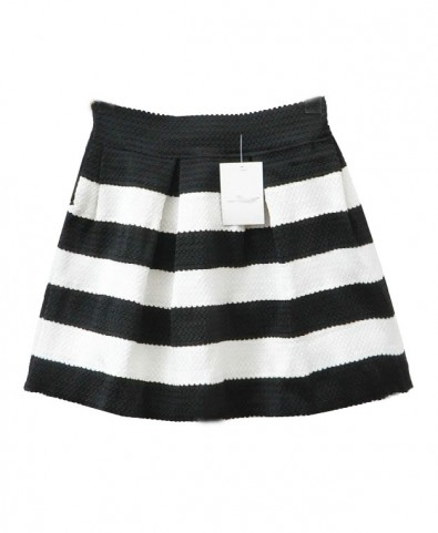 Stripe Print Bouffant Skirt with High Waist - Mini Skirts - Skirts ...