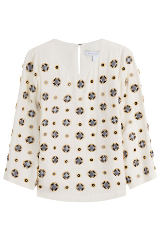 blouse embellished silk white top