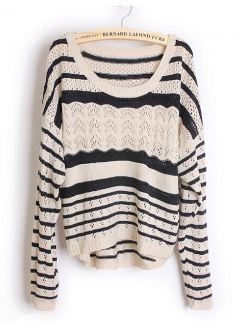 Hollow out Pretty Striped Black Sweater - Designer Shoes|bqueentrade.com