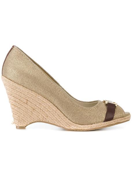 MICHAEL Michael Kors women wedges leather grey metallic shoes