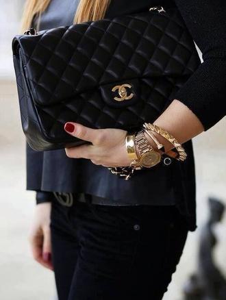bag chanel bag black noir sac jewels chanel
