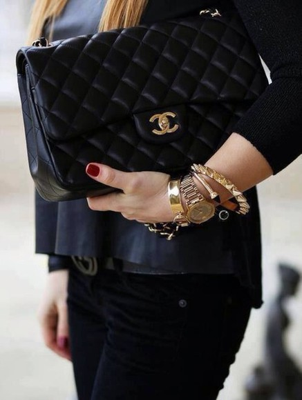 bag chanel chanel bag black noir sac jewels