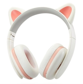 earphones pink headphones cat ears ear ears cats white and pink kawaii cute kpop lovely