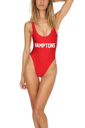 swimwear,private party,blue and cream,one piece swimsuit,one piece,red baywatch,red one piece swimsuit,red swimwear,hamptons,high cut one piece,low back,low back swimsuit