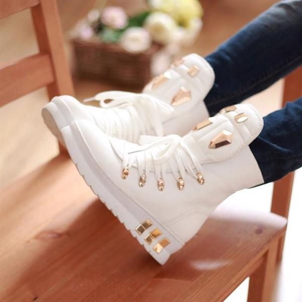 shoes white sneakers studded gold