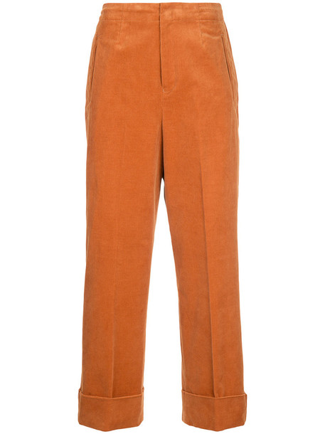 En Route - corduroy straight leg trousers - women - Cotton - 1, Yellow/Orange, Cotton