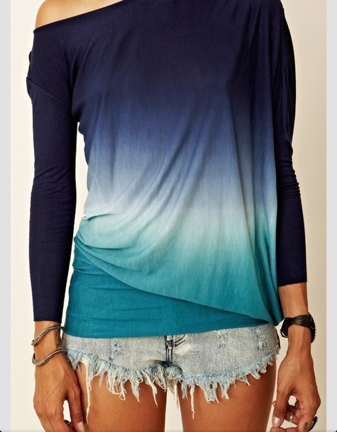 shirt ombre shirt ombre long sleeves top ombre top off the shoulder sweater tank top