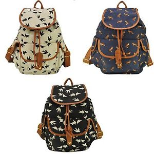 Backpack BAG Birds Animal Floral Print Outdoor Rucksack Bookbag ...