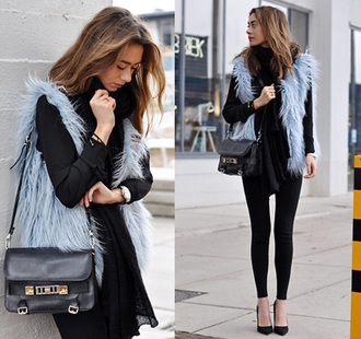 coat fur fur coat faux fur gilet grey sweater