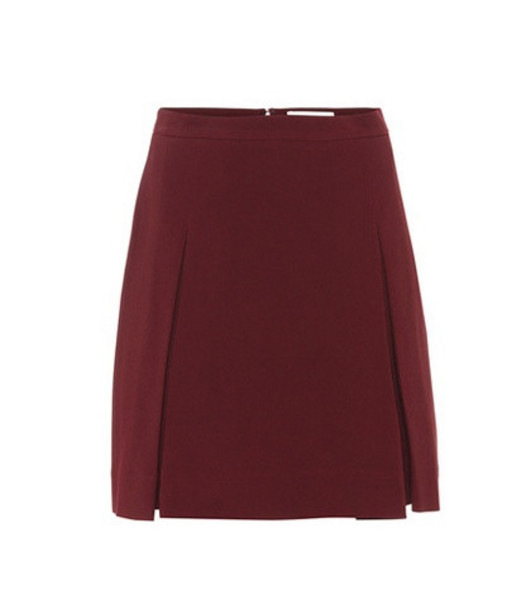 Elie Saab Pleated crêpe miniskirt in red