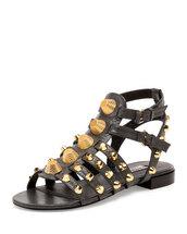 shoes,studded shoes,studded sandals,black sandals,flat sandals