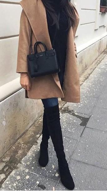 7b71ec0d23a0 coat camel sand beige fashion stuart long coat stuart weitzman over knee  boots over knees suede