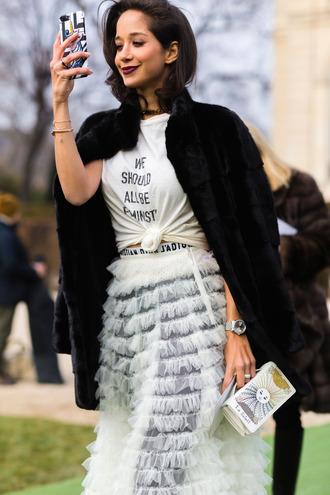 skirt top dior fashion week 2017 streetstyle fashion week feminist tshirt t-shirt