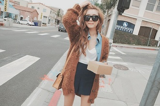 jacket cardigan fall outfits korean fashion undefined shirt sunglasses shorts lace bows white bag japanese tights thigh highs