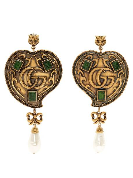 gucci heart earrings gold jewels