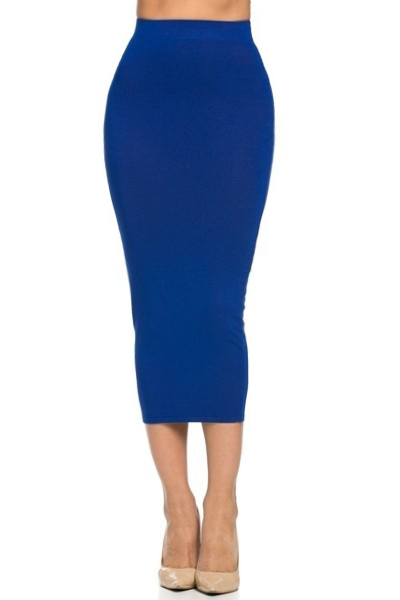 huge selection of ever popular newest style Knitted Fitted Pencil Skirt - Royal Blue PRE-ORDER