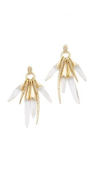 rock clear earrings gold jewels