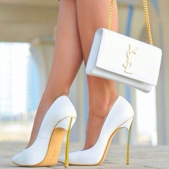 shoes white and gold shoes bag white heels white shoes saint laurent classy
