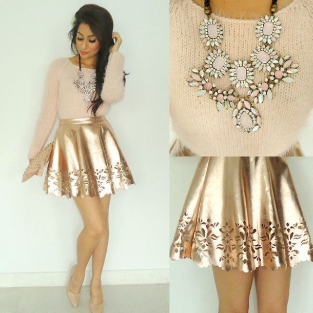 skirt gold style preppy prep jewels sweater skater skirt embroidered necklace statement necklace gold skirt