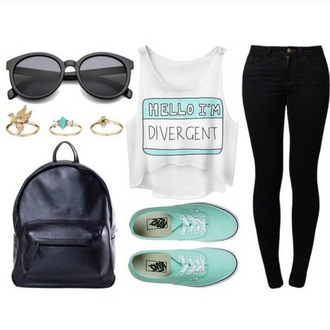 tank top mint white highwaisted black jeans ring backpack sunglasses divergent mint shoes