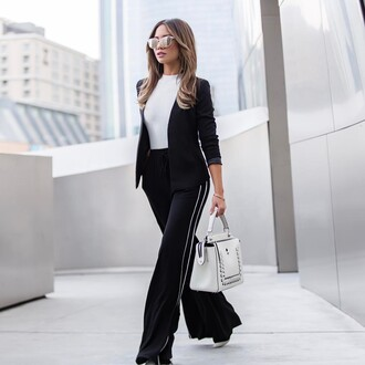 pants tumblr top wide-leg pants black pants side stripe pants white top blazer black blazer bag white bag office outfits spring work outfit sunglasses mirrored sunglasses