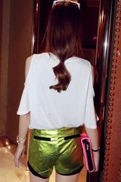 shorts,clothes,metallic,green,black,short,cute,disco
