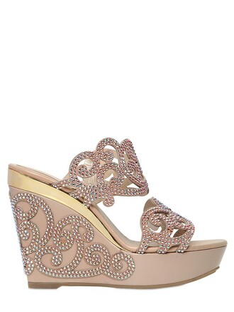 sandals wedge sandals leather nude shoes
