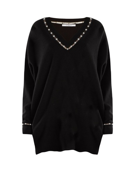 sweater pearl embellished wool black