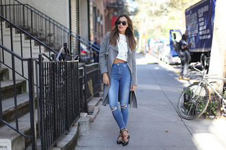 lady addict blogger coat top jeans shoes jewels