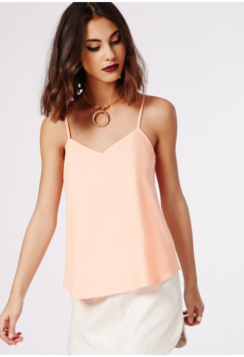 Neck cami top nude