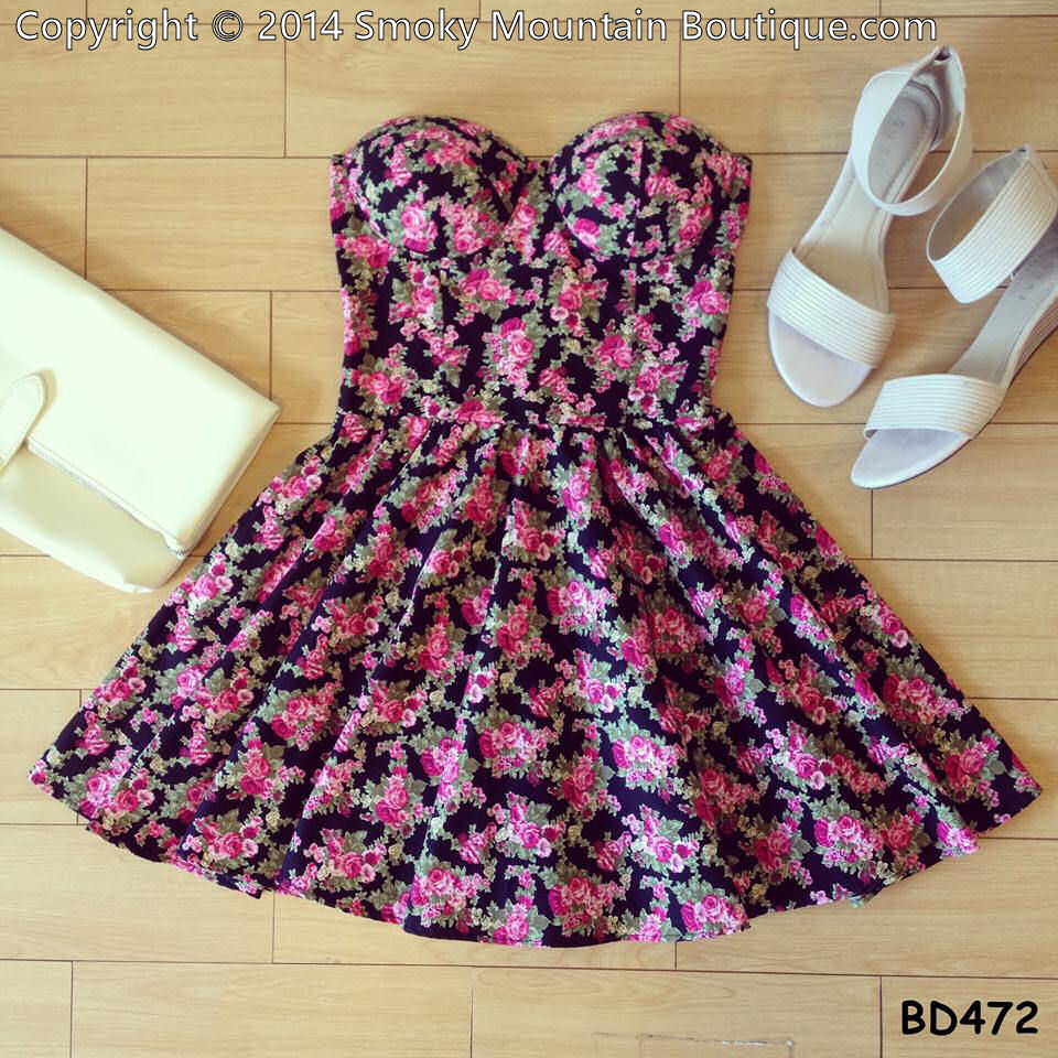 Wendy floral vintage bustier dress with adjustable straps