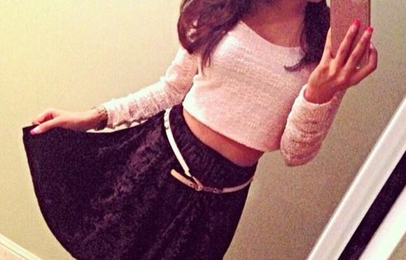 top style beige pale pink blouse salmon velvet velvet skirt pale