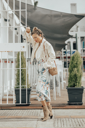 mi aventura con la moda,blogger,pants,blouse,jacket,bag,shoes,t-shirt,jewels,fringed jacket,boots,floral pants,spring outfits