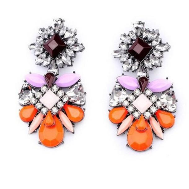 jewels earrings elegant earrings cute cute earrings statement statement earrings orange purple