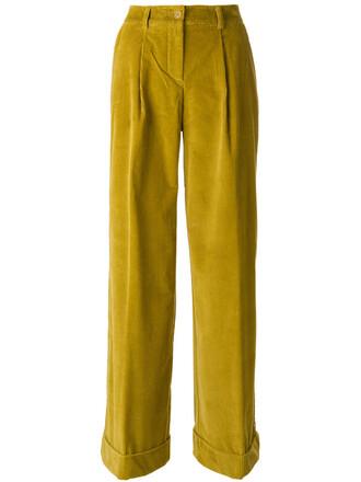 women cotton yellow orange pants