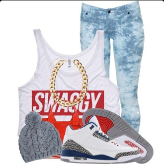 shirt swagg t shirt gold necklace jeans hat shoes