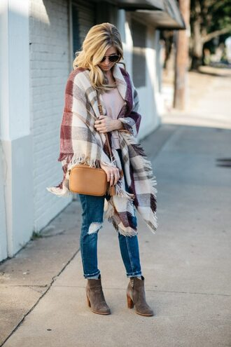 onesmallblonde blogger scarf jeans shoes t-shirt sunglasses jewels fall outfits shoulder bag ankle boots